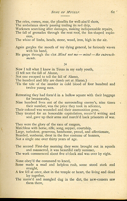 "walt whitman song of myself A summary of ""song of myself"" in walt whitman's whitman's poetry learn exactly   perfect for acing essays, tests, and quizzes, as well as for writing lesson plans   this poem did not take on the title ""song of myself"" until the 1881 edition."