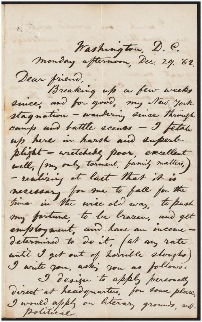 walt whitman to ralph waldo emerson  29 december 1862