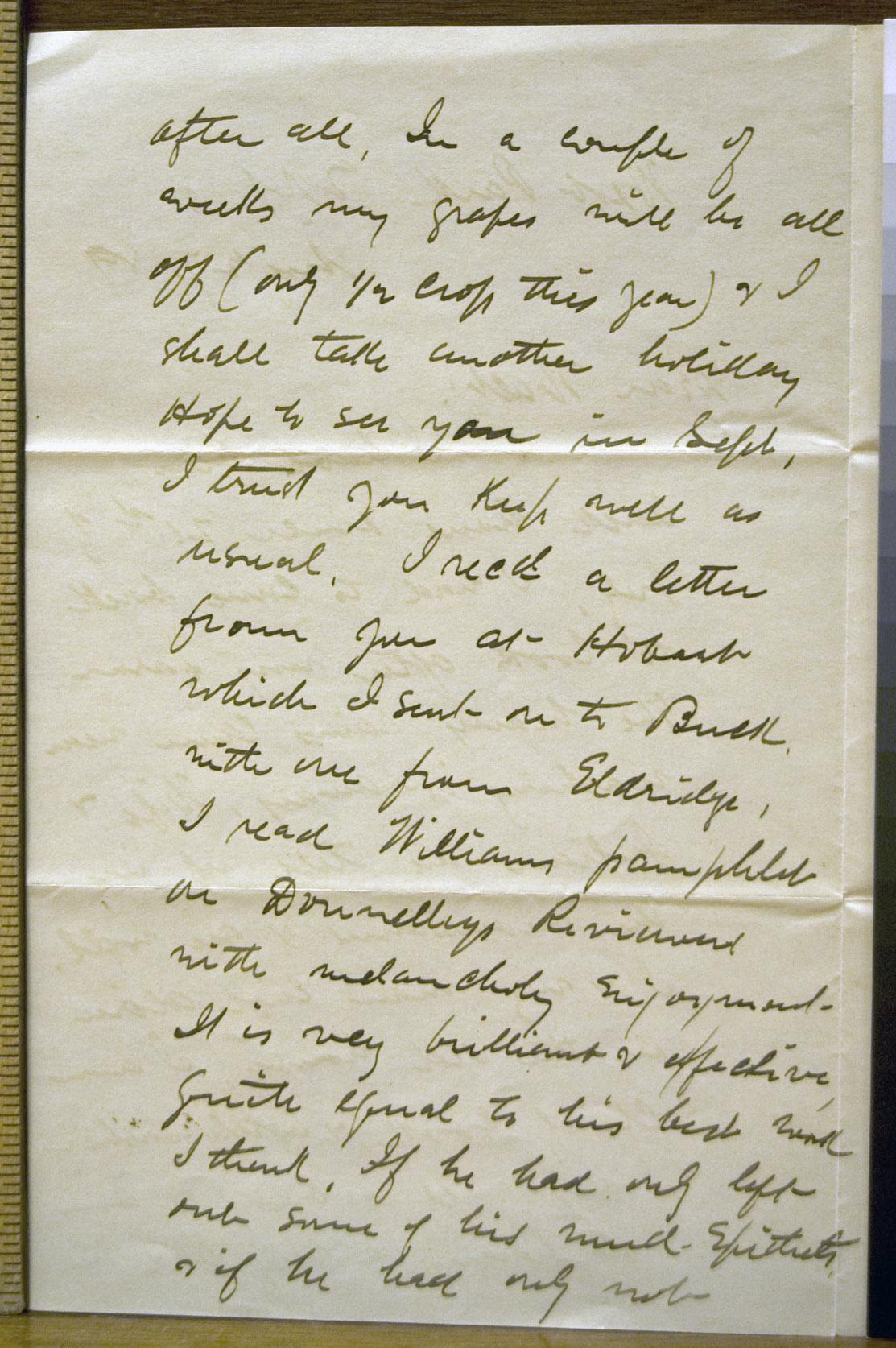 John Burroughs to Walt Whitman, 27 August 1889