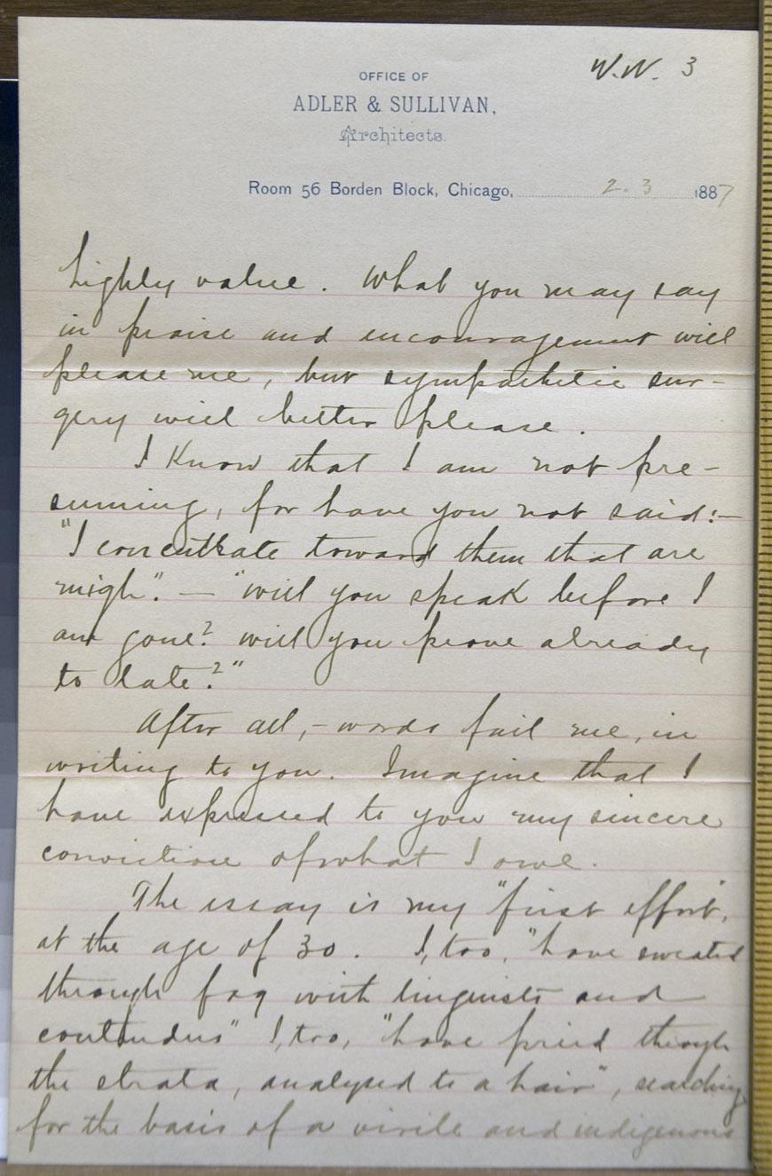 Louis H. Sullivan to Walt Whitman, 3 February 1887 (Correspondence ...
