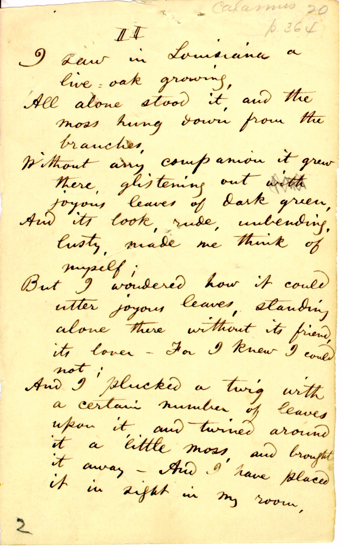 """Look Up A Number >> Walt Whitman Poetry Manuscripts - """"Live Oak, with Moss ..."""