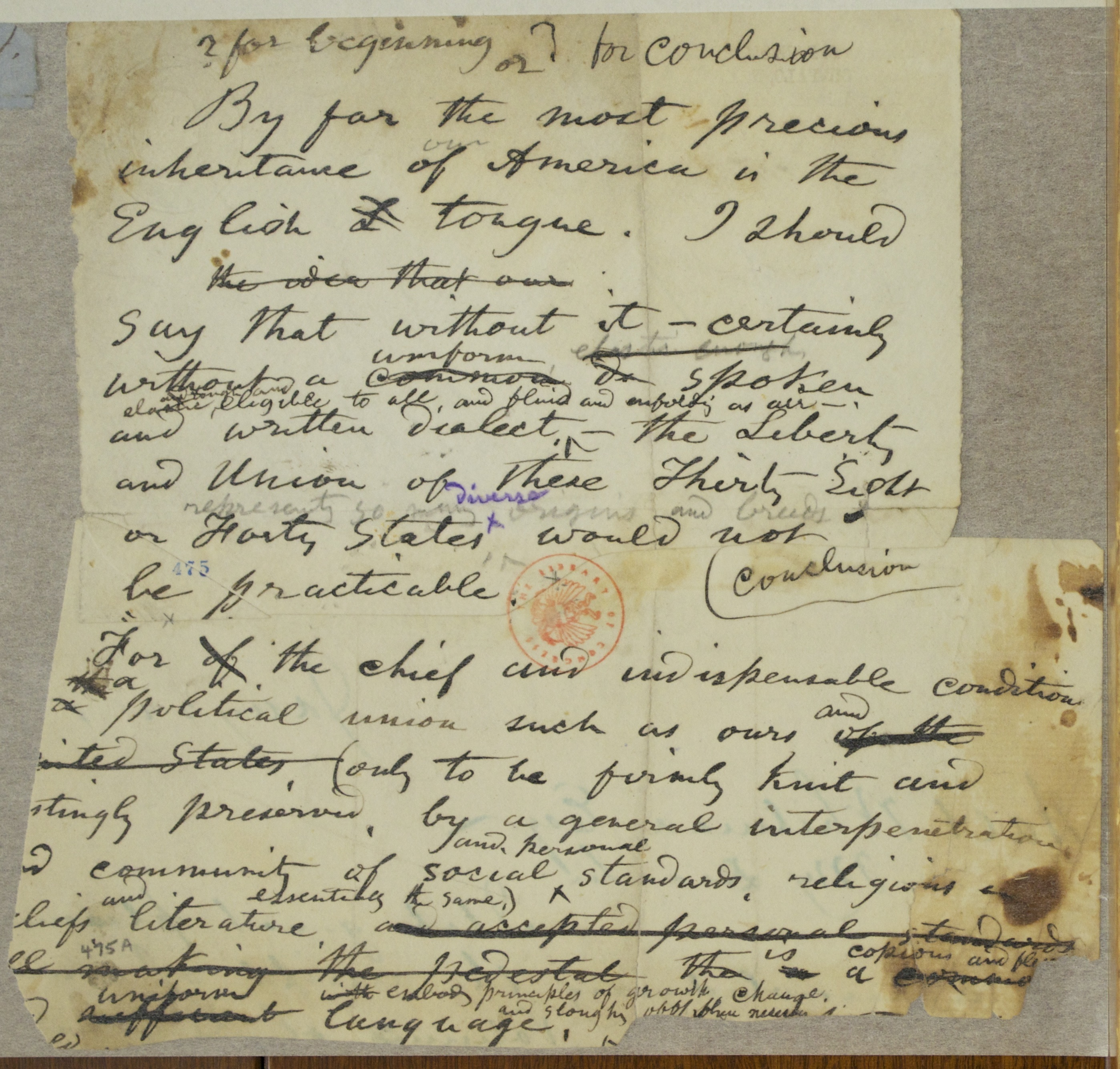 catalog of the walt whitman literary manuscripts in the thomas content the initial part of this manuscript contains a passage consonant the title and the initial phrase of the essay america s mightiest