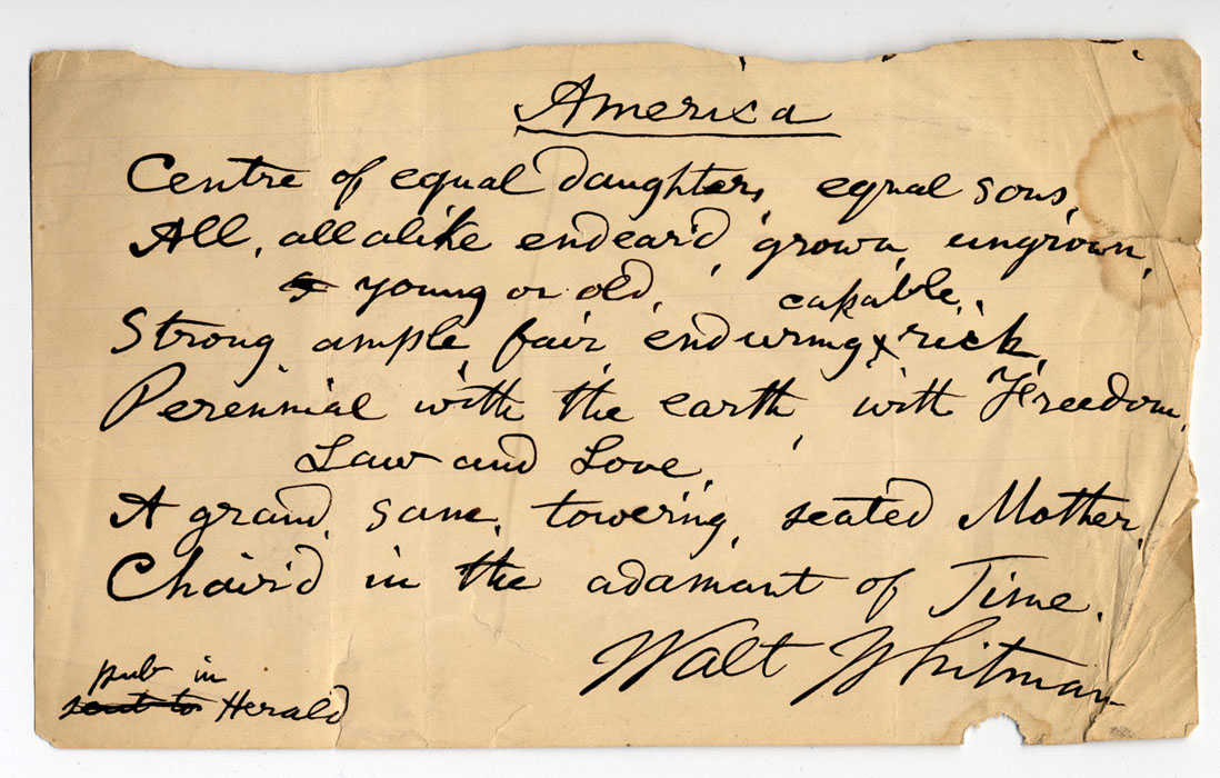 poema manuscrito de Walt Whitman, America