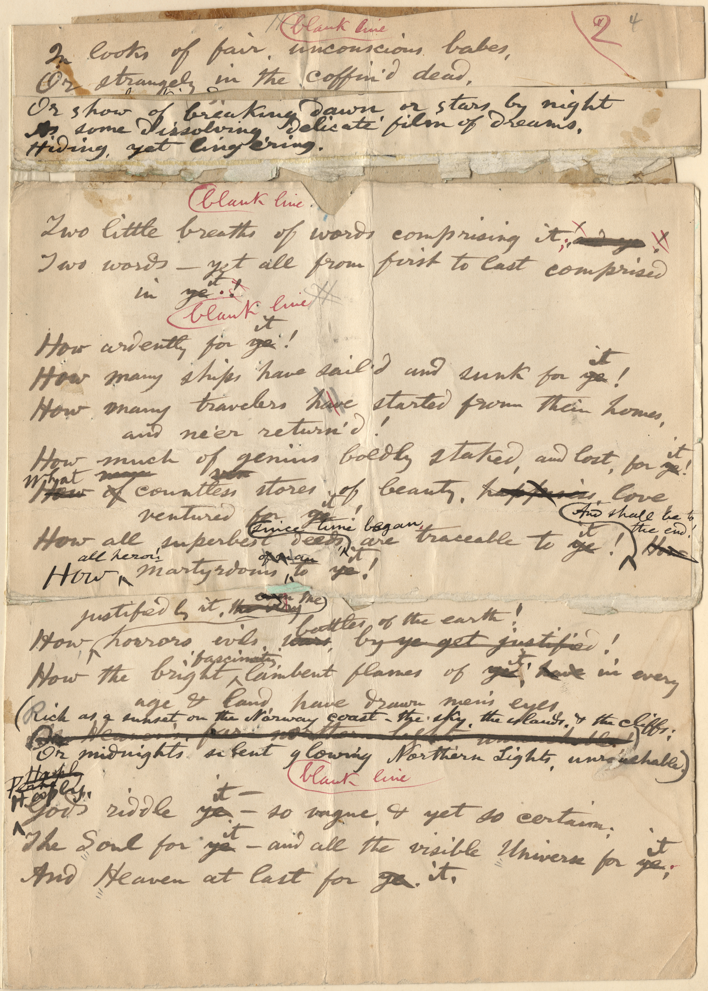 Content manuscript and corrected proof of a riddle song a poem which first appeared in the tarrytown sunnyside press on 3 april 1880