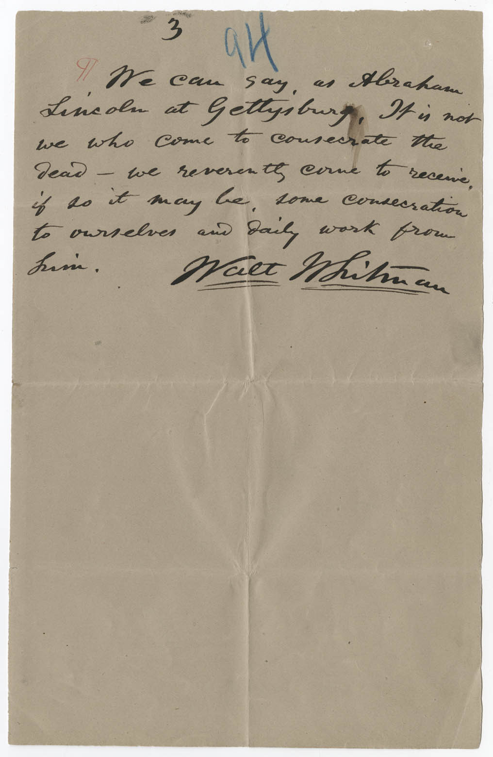 catalog of the walt whitman literary manuscripts in the walt content three page printer s copy of the essay by emerson s grave published in the 6 1882 issue of the critic and later reprinted in specimen days