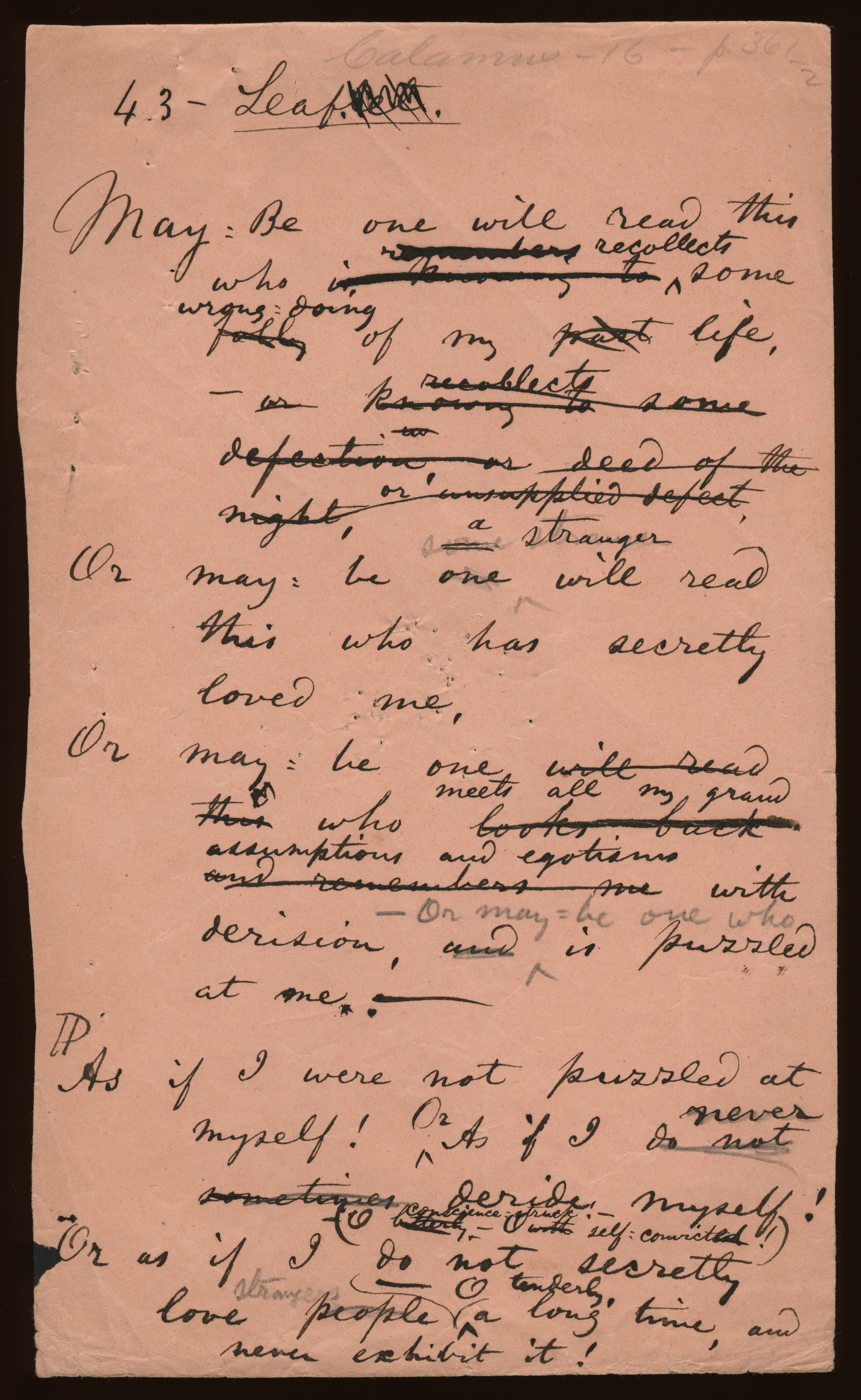 """Content: The original title was """"Leaflet."""" On the second page Whitman  added, in a combination of normal and blue pencil, the number 43 (1/2)."""