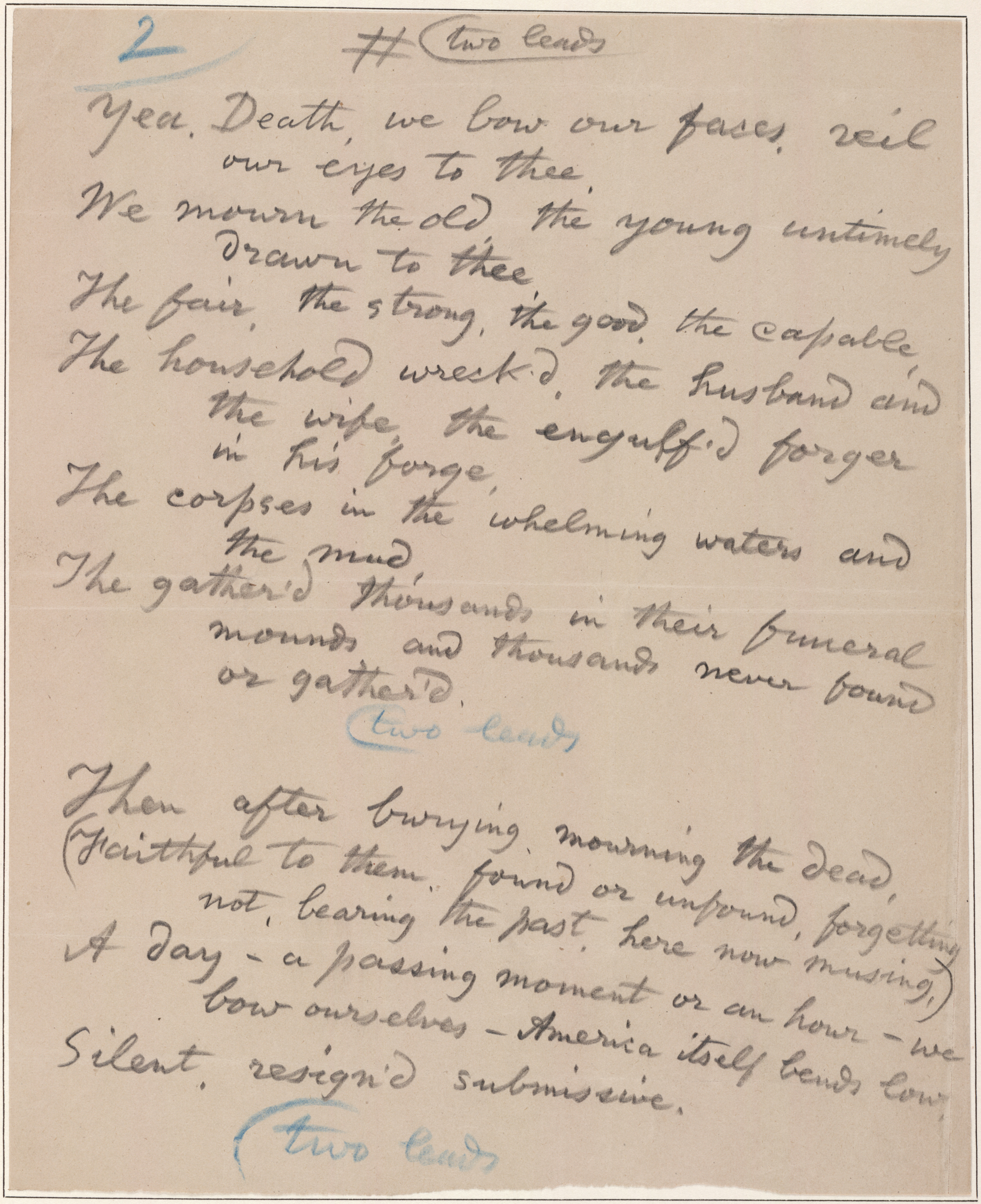 catalog of the walt whitman literary manuscripts in the yale content this is a signed manuscript of a voice from death a poem written in response to the johnstown pennsylvania flood in the spring of 1889 in