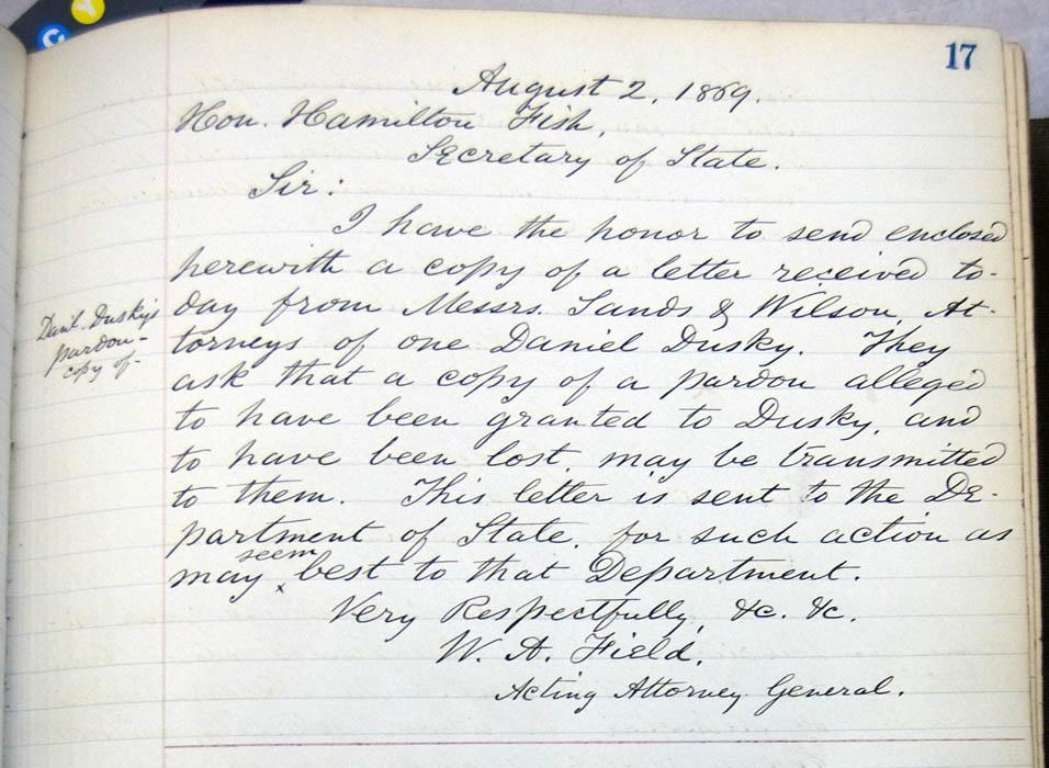 W  A  Field to Hamilton Fish, 2 August 1869 (Scribal
