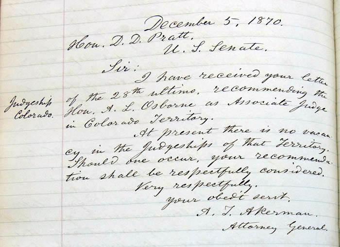 amos t  akerman to d  d  pratt  5 december 1870  scribal