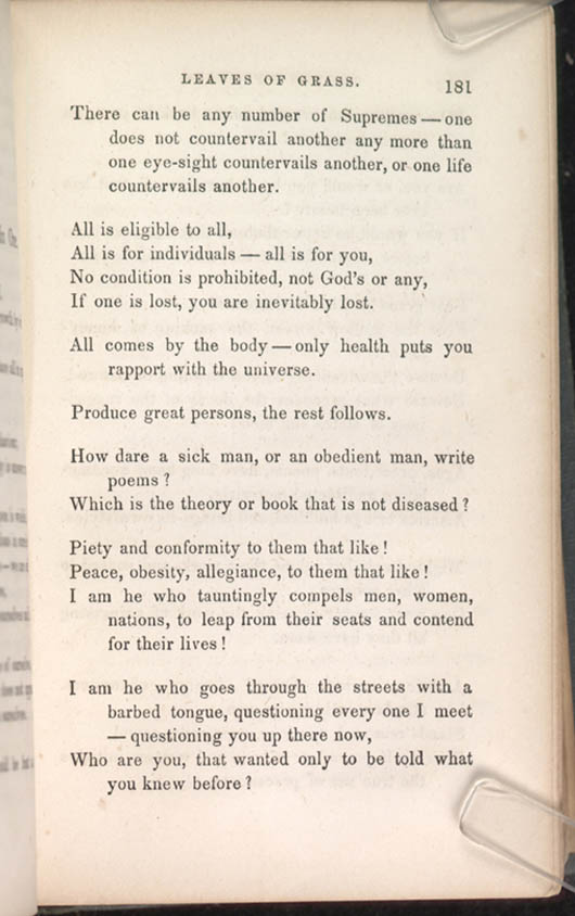 8 Poem Of Many In One Leaves Of Grass 1856 The Walt Whitman