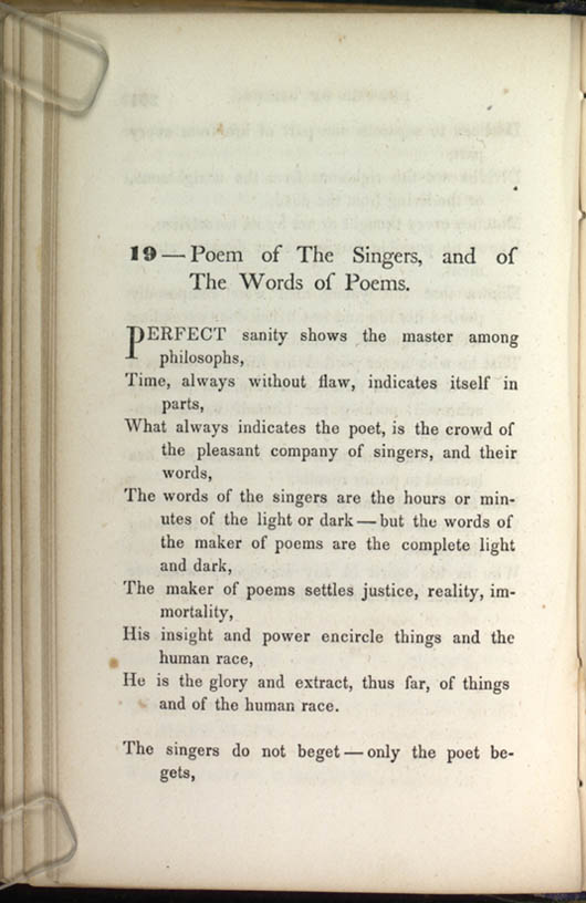 19 — Poem of The Singers, and of The Words of Poems ...