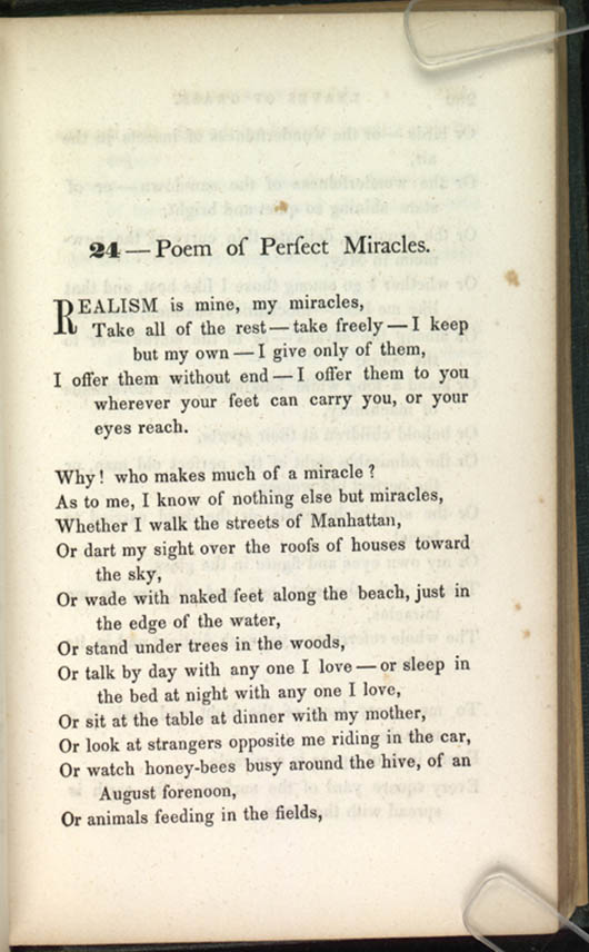24 Poem Of Perfect Miracles Leaves Of Grass 1856