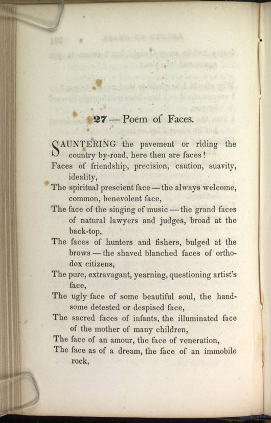 27 — Poem of Faces  (Leaves of Grass (1856)) - The Walt