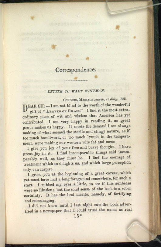Letter to walt whitman leaves of grass 1856 the walt whitman books by whitman m4hsunfo