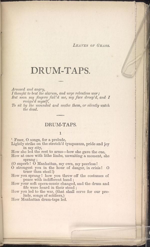 beat beat drums by walt whitman essay Symbolism of feelings towards war in beat beat drums by walt whitman ← view the full, formatted essay similar essays: symbloism of war, drum beats, walt.