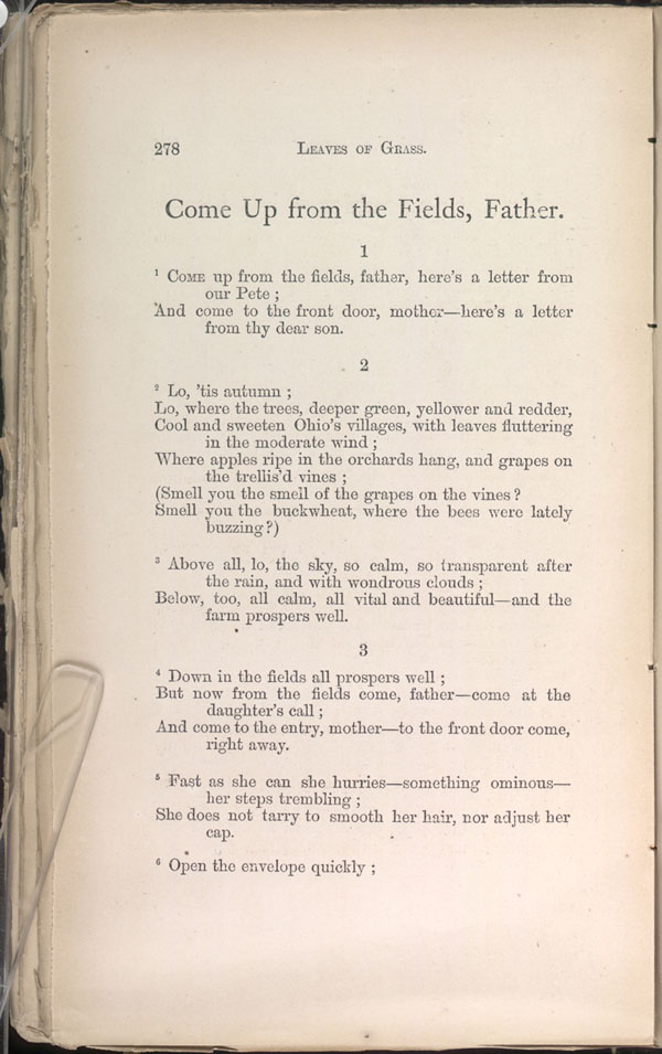 Come Up From The Fields Father Leaves Of Grass 1871