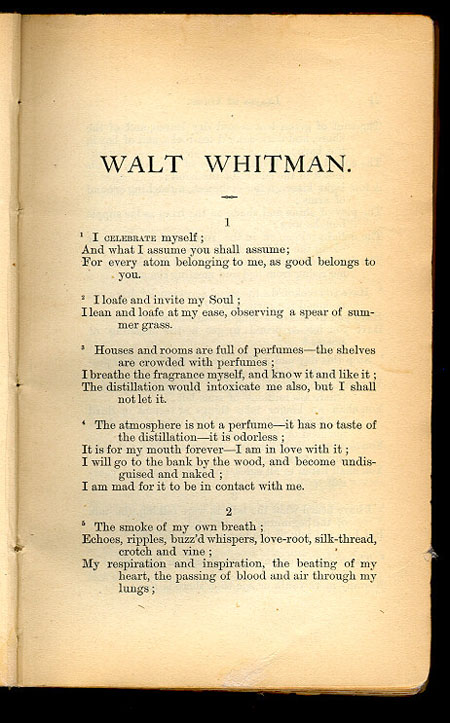 song of myself by walt whitman Song of myself audio recordings of audio may be reused for non-commercial purposes, with credit to eric forsythe and the walt whitman archive for permissions for commercial reuse, contact eric forsythe listen to individual sections: 1.