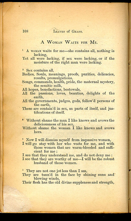 A WOMAN WAITS FOR ME ( Leaves of Grass (1867)) The Walt Whitman Archive