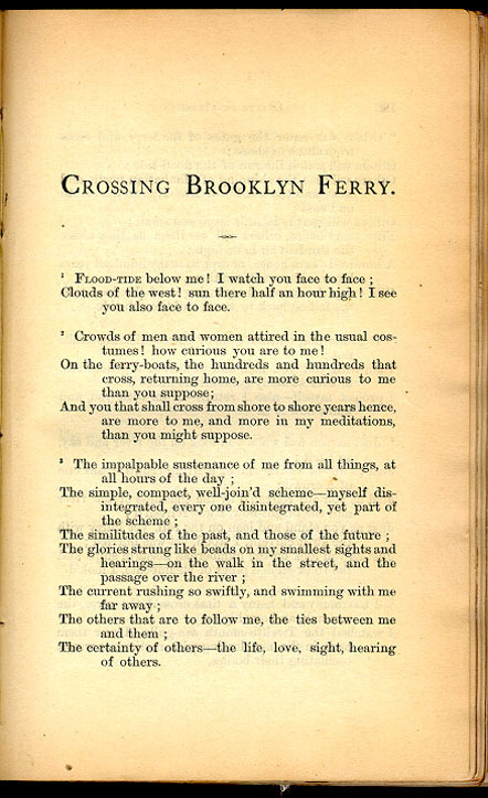 an analysis of crossing brooklyn ferry Find album reviews, stream songs, credits and award information for crossing brooklyn ferry - stephane furic on allmusic - 1996 - a familiarity with aaron copland's appalachian.