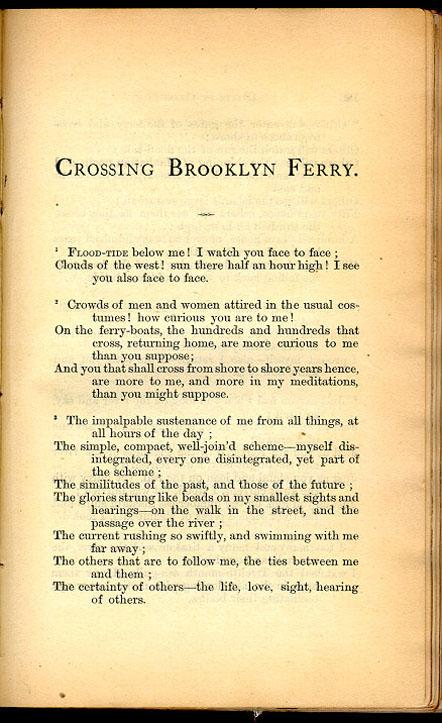 crossing brooklyn ferry by walt whitman essay Walt whitman biography cavalry crossing a ford summary and analysis: calamus crossing brooklyn ferry.
