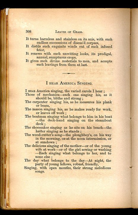 essays on i hear america singing I hear america singing tone and mood tone the tone of the story is appreciative at first, whitman seems indifferent, but at the end, he talks about the pleasing sounds and the joy of the people.