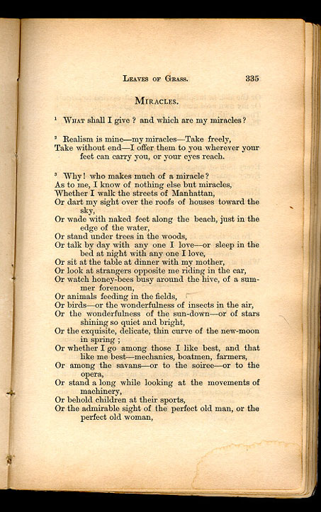 Miracles Leaves Of Grass 1867 The Walt Whitman Archive