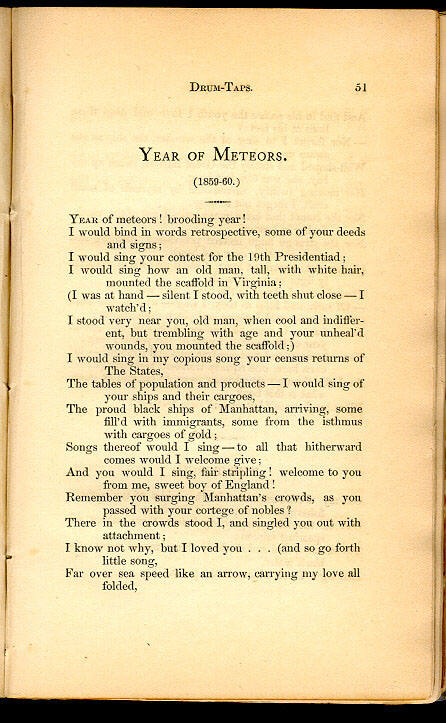 Walt Whitman year of meteors