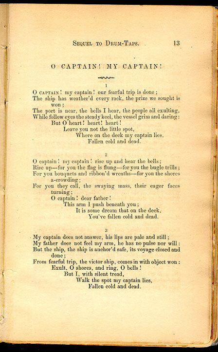 o captain  my captain    leaves of grass  1867