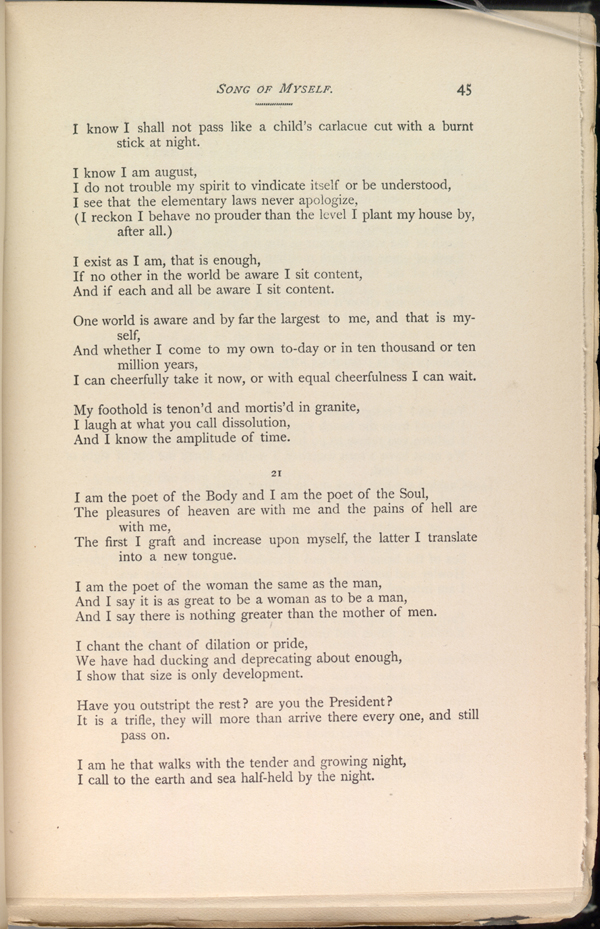 SONG OF MYSELF. ( Leaves of Grass (1891-92)) - The Walt Whitman ...