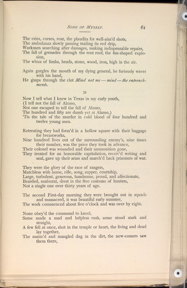SONG OF MYSELF Leaves Of Grass 1891 92