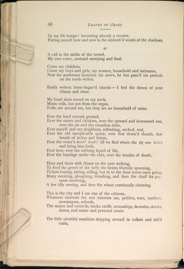 Song Of Myself Leaves Of Grass 1891 92 The Walt Whitman Archive