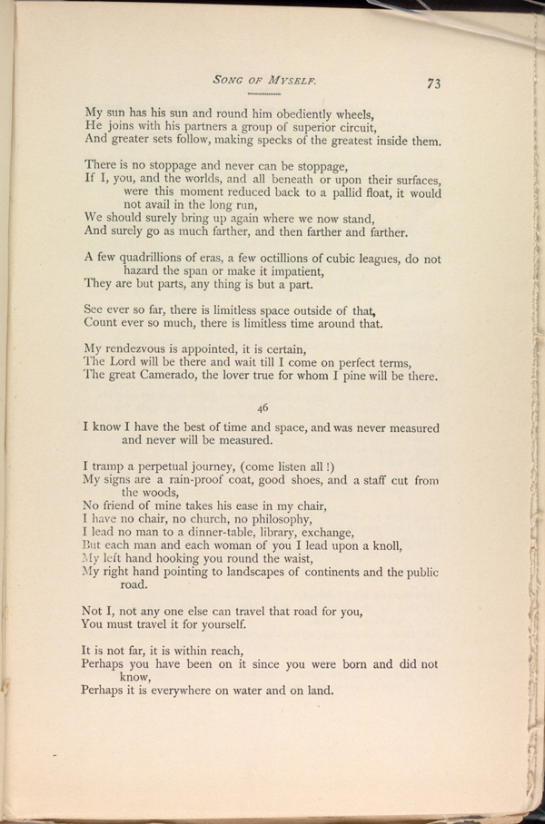 SONG OF MYSELF  ( Leaves of Grass (1891–1892)) - The Walt
