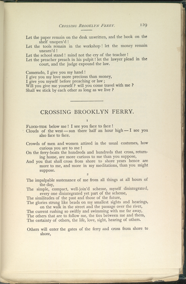 a analysis of walt whitmans poem crossing brooklyn ferry Sun-down poem (later retitled crossing brooklyn ferry) and poem of the  propositions of nakedness (later retitled respondez) both were first printed in .