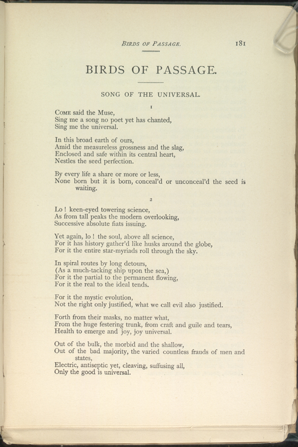 Song Of The Universal Leaves Of Grass 1891 92 The Walt