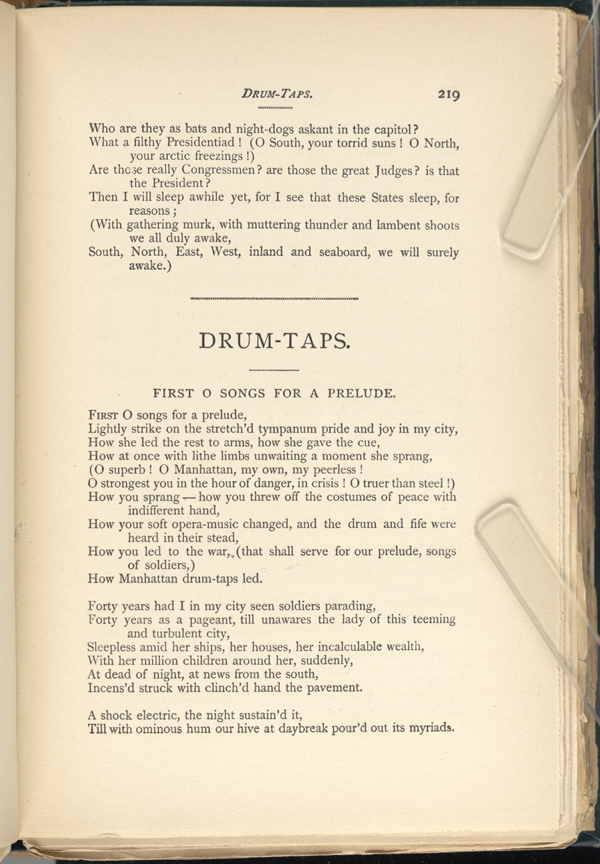DRUM-TAPS. ( Leaves of Grass (1891-92)) - The Walt Whitman Archive