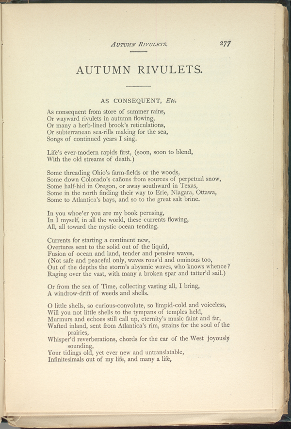 Autumn Rivulets Leaves Of Grass 1891 92 The Walt Whitman Archive