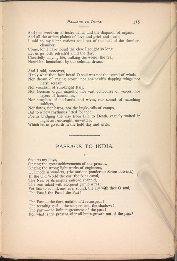 PASSAGE TO INDIA. ( Leaves of Grass (1891-92)) - The Walt ...