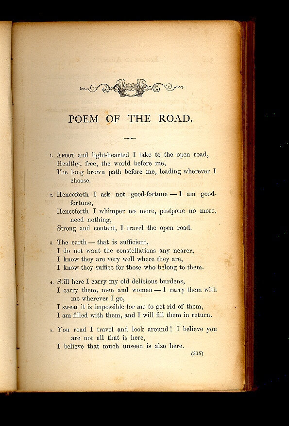 POEM OF THE ROAD  ( Leaves of Grass (1860–1861)) - The Walt
