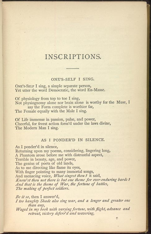 ONE'S-SELF I SING  (Leaves of Grass (1881–1882)) - The Walt Whitman