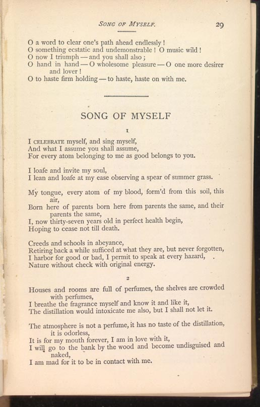Whitman song of myself summary
