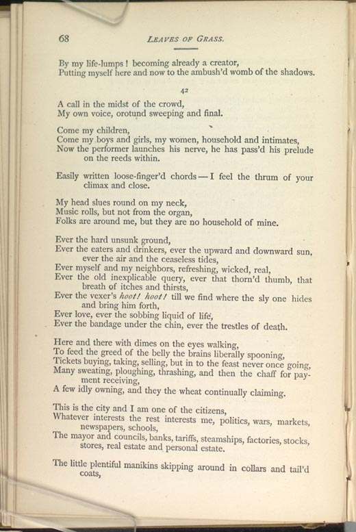 Song Of Myself Leaves Of Grass 1881 82 The Walt Whitman Archive