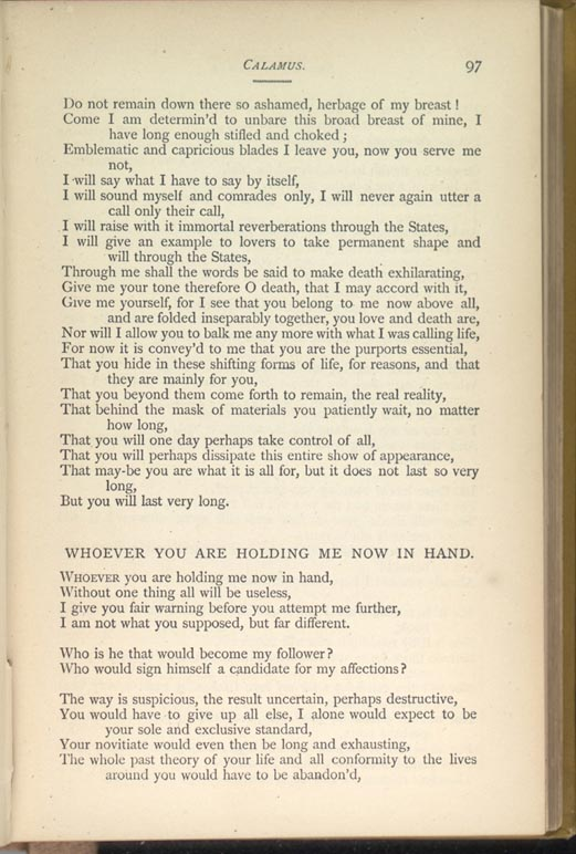 an analysis of the poem whoever you are holding me now in hand by walt whitman Schwiebert, john e the frailest john e the frailest leaves: whitman's poetic ironic reading of whitman's poem whoever you are holding me now in hand.