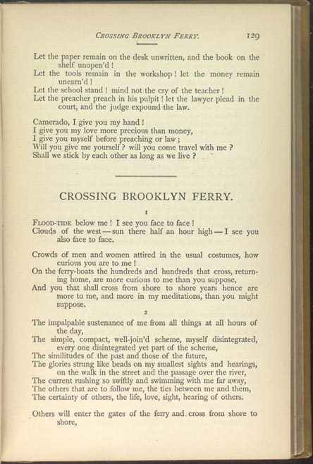 a comparison of whitmans crossing brooklyn ferry and forsters passage to india Literature of the american frontier — passage to india, prayer if columbus, song of the open road, crossing brooklyn ferry — walt whitman.
