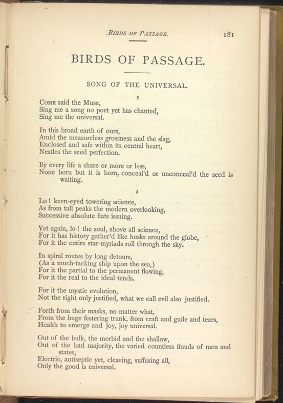 Birds Of Passage Leaves Of Grass 1881 82 The Walt Whitman Archive