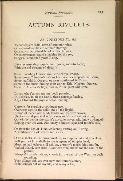 Autumn Rivulets Leaves Of Grass 1881 82 The Walt Whitman Archive