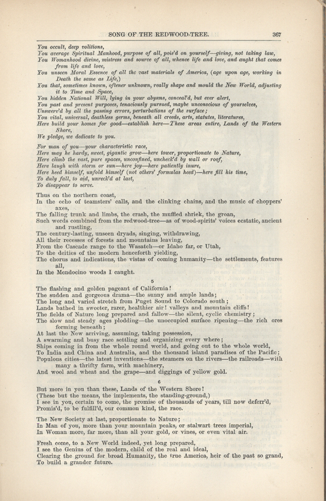 song of the redwood tree walt whitman