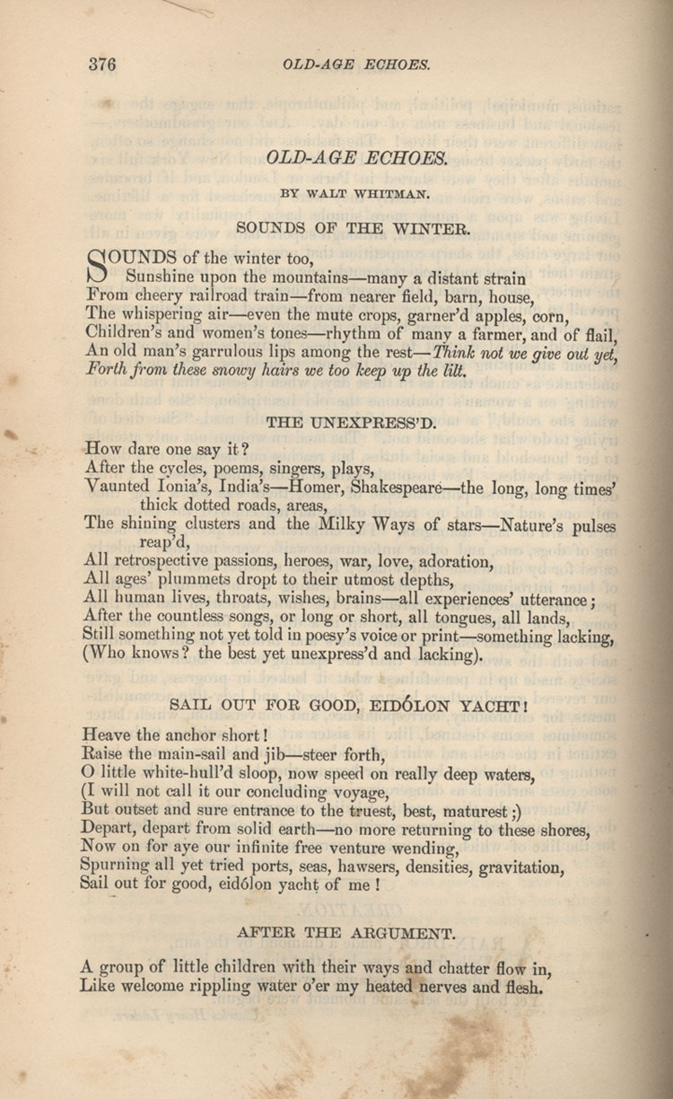 Old Age Echoes Poems In Periodicals The Walt Whitman